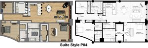 Penthouse Suite Styles P04, P06, P07, P08, P09: 2 Bedrooms 2.5 Baths with Office