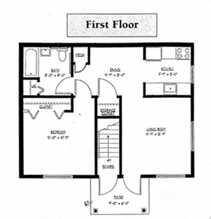 1 bedroom - 1 bathroom Floor Plan 1