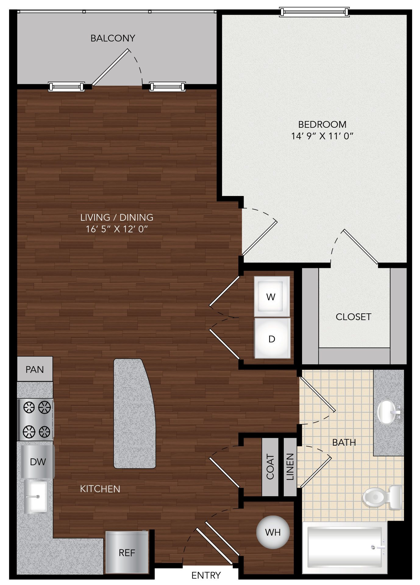 Tapestry Largo Station_Largo MD_Floor Plan 1A_One Bedroom One Bathroom