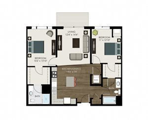 2 Bedroom 2 Bathroom Apartment with Center Kitchen Island