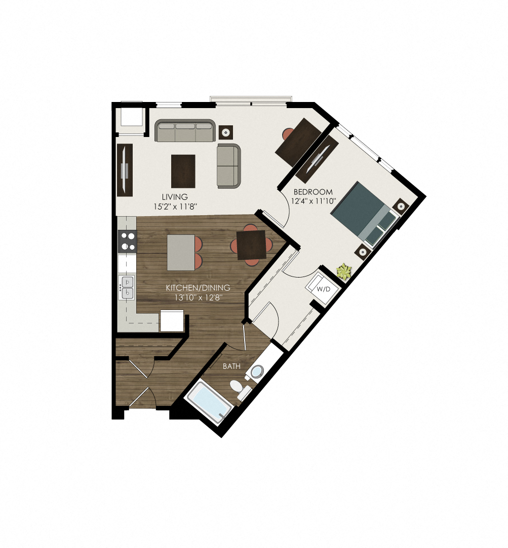 1 Bedroom 1 Bathroom Apartment with Open Concept Living Room