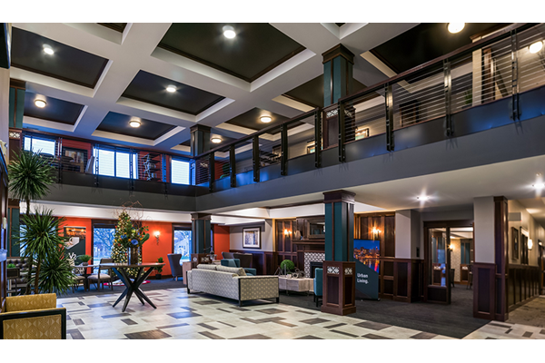 Apartment Lobby Entrance with Seating and Coffee Bar
