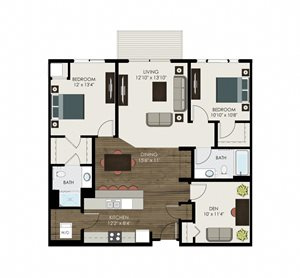 2 Bedroom + Den 2 Bathroom Apartment with Dining Room