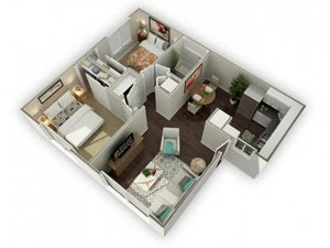 Ironwood Apartments The Fenestra 3D Floor Plan