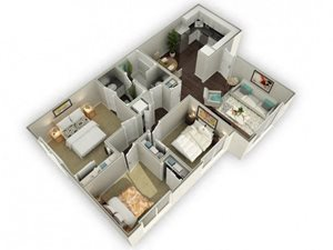 Ironwood Apartments The Murrieta 3D Floor Plan