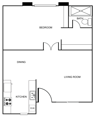 The Vicinity_Phoenix_AZ_Floor Plan_Bethany_One Bedroom One Bathroom