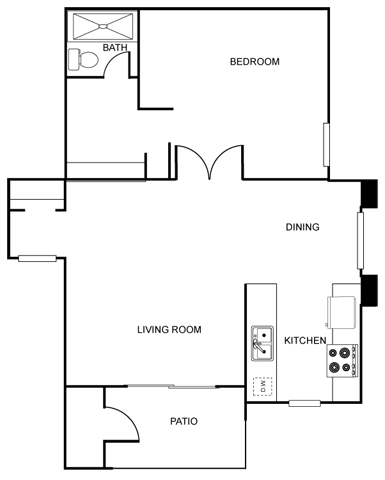 The Vicinity_Phoenix_AZ_Floor Plan_Granada_One Bedroom One Bathroom