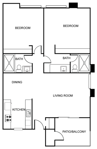 The Vicinity_Phoenix_AZ_Floor Plan_Silva_Two Bedroom Two Bathroom