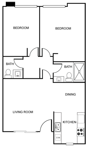 The Vicinity_Phoenix_AZ_Floor Plan_Tangerine_Two Bedroom One and a Half Bathroom