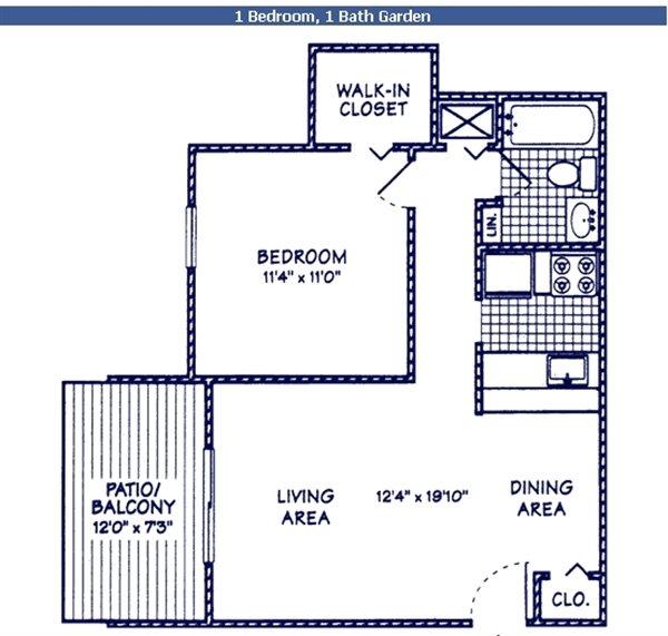 1 BR 1 BA Floor Plan 1