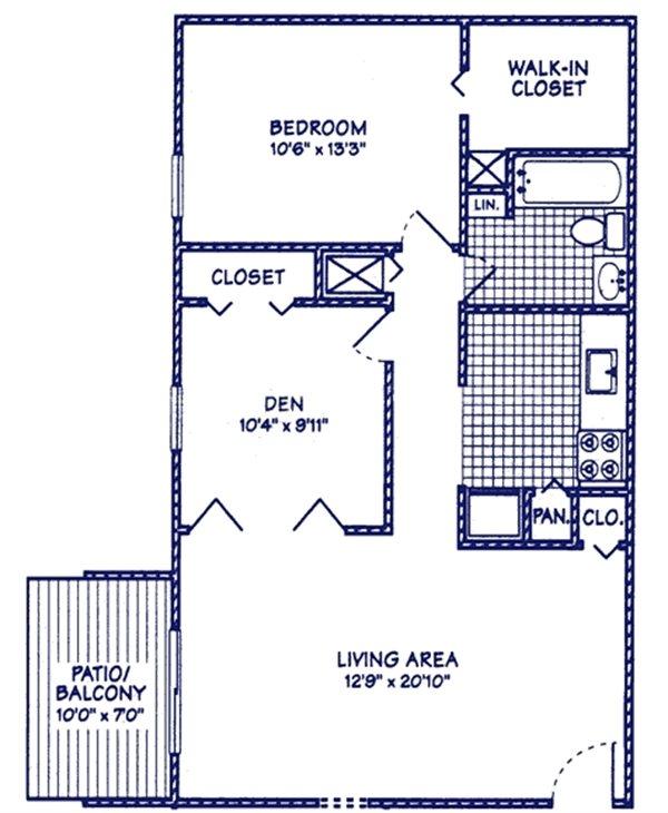 1 BR 1 BA w-Den Floor Plan 2