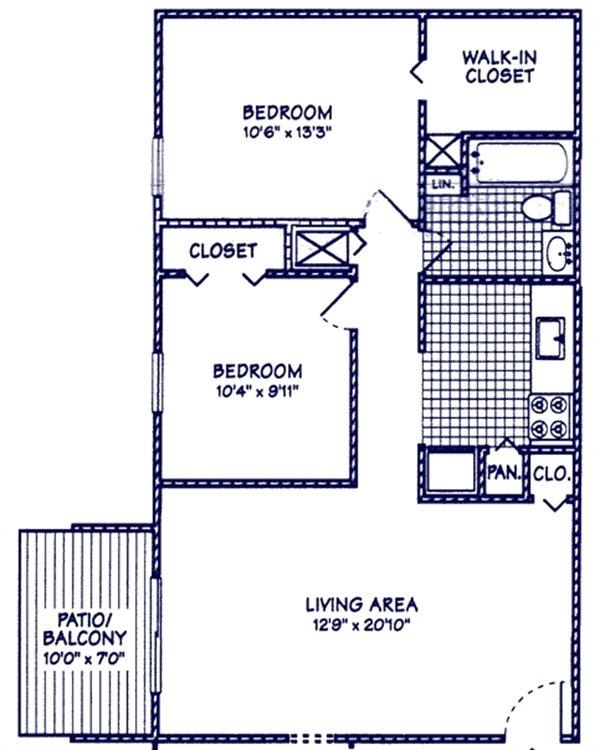 2 BR 1 BA Floor Plan 3