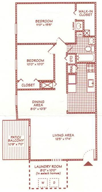 2 BR 1 BA Large w-Laundry Floor Plan 6