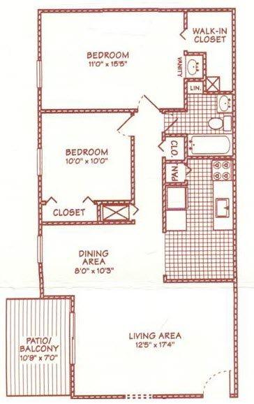 2 BR 1 BA Large Floor Plan 5