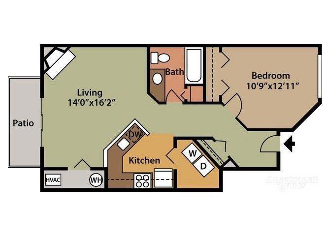 Lucerne - 1st Floor 1 Bed 1 Bath Floor plan at Northville Woods - Northville, MI, Michigan