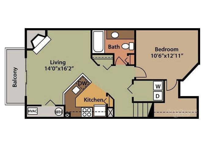 Lucerne - 2nd Floor 1 Bed 1 Bath Floor plan at Northville Woods - Northville, MI, Michigan, 48168