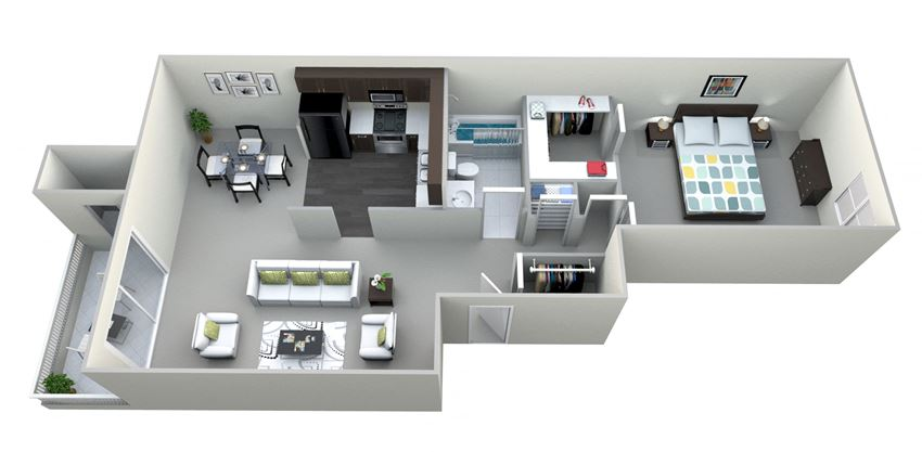 Alpine 1 Bed 1 Bath Floor plan at Northville Woods - Northville, MI, Northville