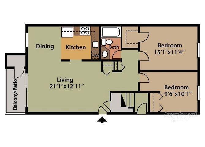 Bavarian 2 Bed 1 Bath Floor Plan at Northville Woods - Northville, MI, Northville, MI, 48168