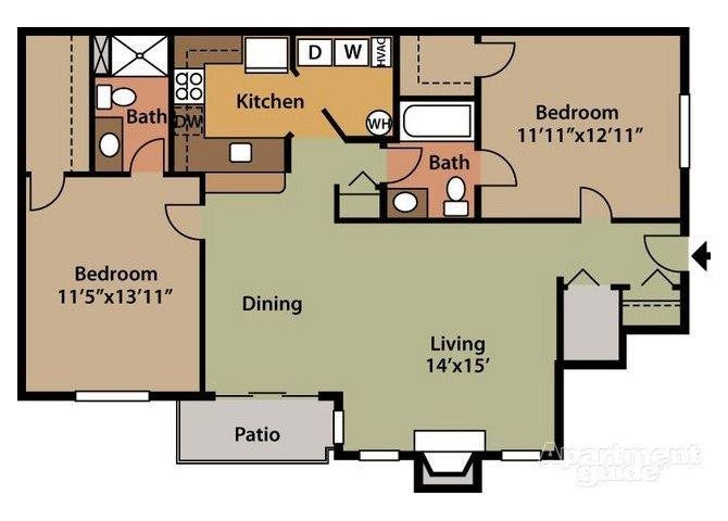 St. Moritz - 1st Floor 2 Bed 1.5 Bath Floor Plan at Northville Woods - Northville, MI, Northville, MI