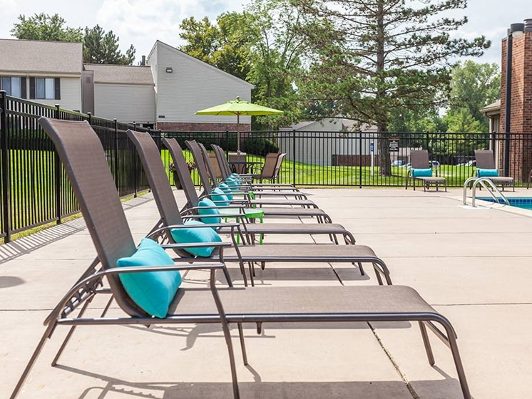 Relaxing Area by the Pool, at Northville Woods, Michigan