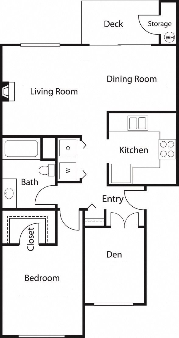 1x1 Den 2 Floor Plan 2