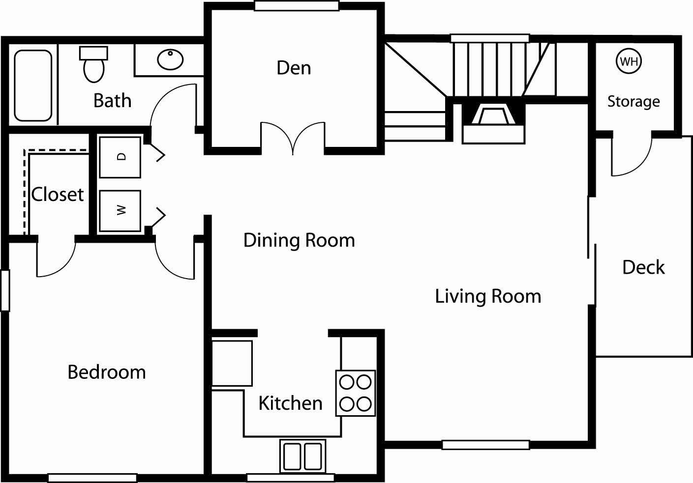 1x1 Den 3 Floor Plan 3