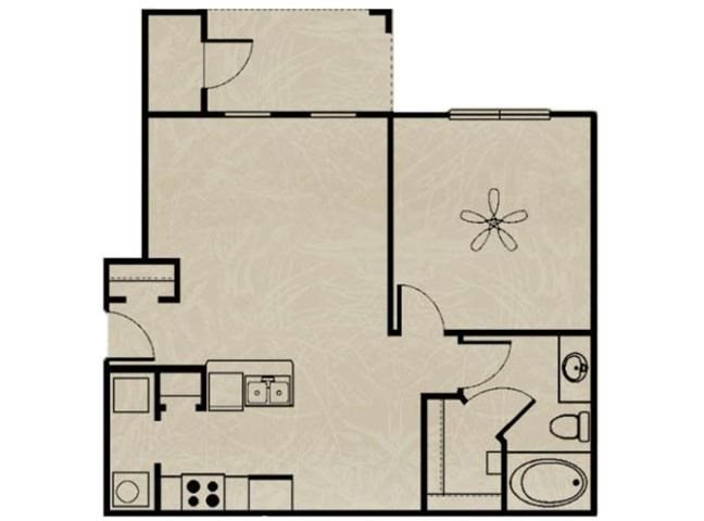 1 Bedroom, 1 Bath 692 sqft Floor Plan 1