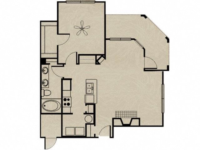 1 Bedroom, 1 Bath 813 sqft Floor Plan 3