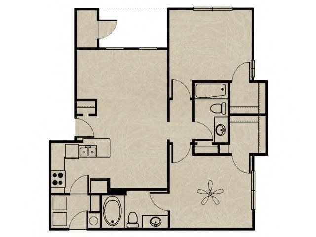 2 Bedroom, 2 Bath 955 sqft Floor Plan 6
