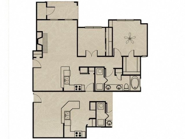 2 Bedroom, 1 Bath 956 sqft Floor Plan 4