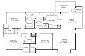 Harbor Creek Traditional C Floor Plan 3 Bedroom 2 Bath