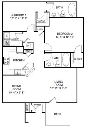 Harbor Creek Villa Floor Plan 2 Bedroom 2 Bath