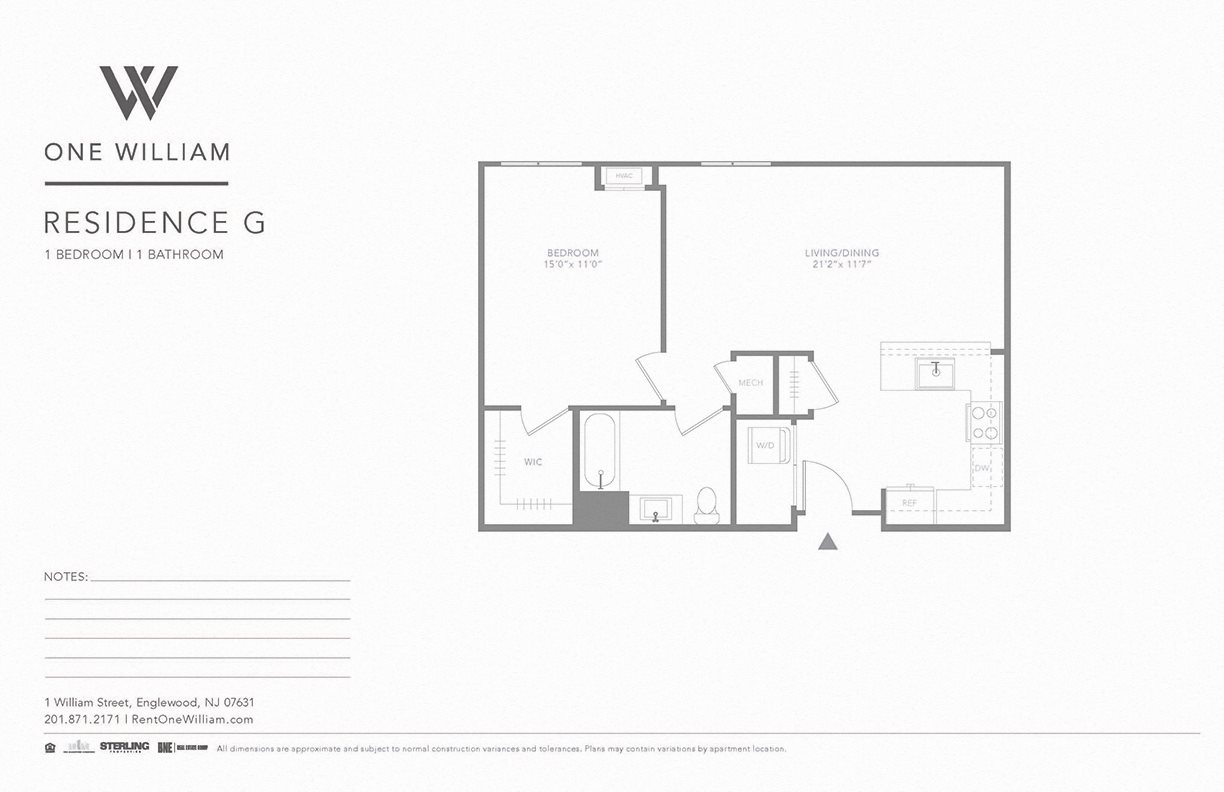 one william, englewood nj, luxury apartments, greater nyc area, floor plan, 1 bedroom apartment