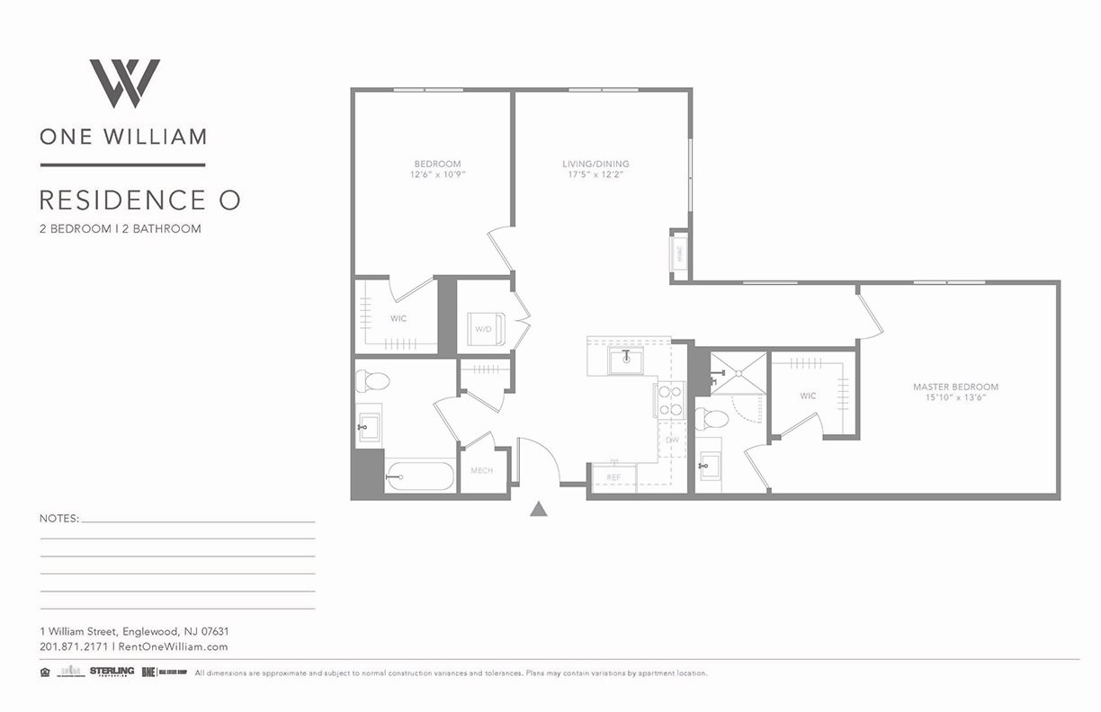 one william, englewood nj, luxury apartments, greater nyc area, floor plan, 2 bedroom apartment