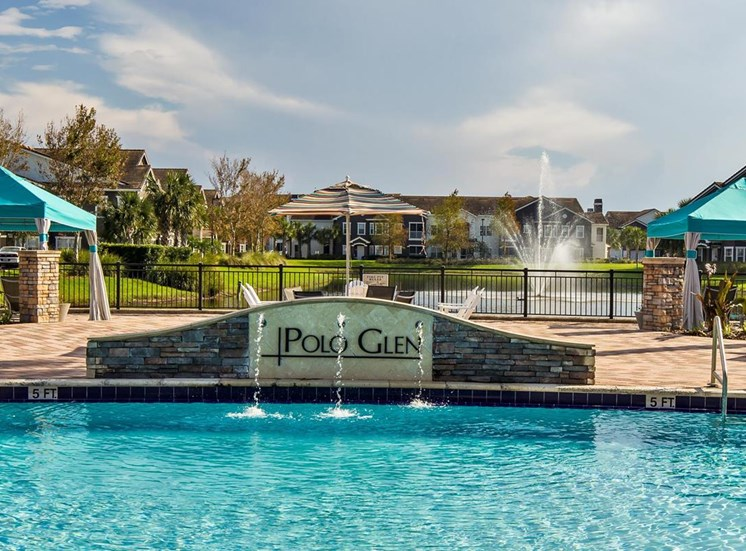 Pool with Polo Glen Sign