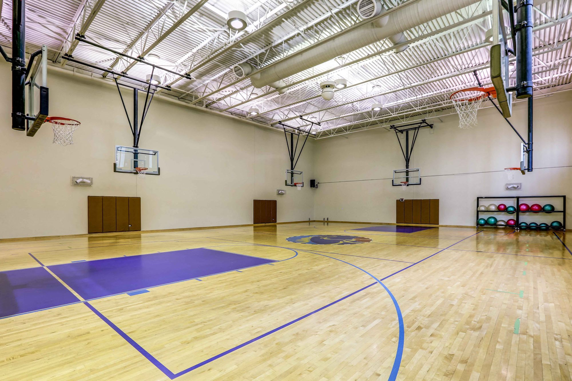 Full-size indoor basketball court