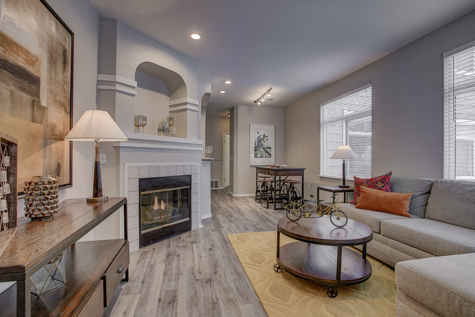 Apartments for Rent in Highlands Ranch-Palomino Park Apartments Living Room With Fireplace And Modern Furnishings
