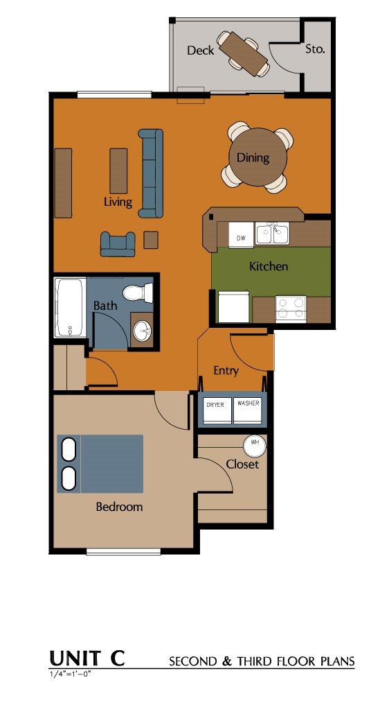 1 Bed, 1 Bath Handicap (720 sf) Floor Plan 5