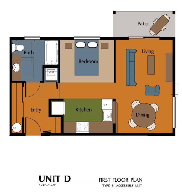 1 Bed, 1 Bath Studio (564 sf) Floor Plan 2
