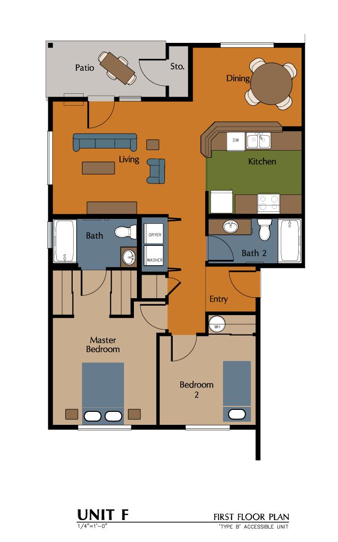 2 Bed, 2 Bath (1046 sf) Floor Plan 9
