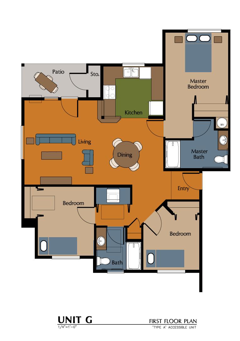 3 Bed, 2 Bath Handicap (1162 sf) Floor Plan 13