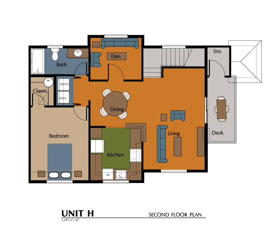 1 Bed, 1 Bath, Den, Carriage House (928 sf) Floor Plan 7