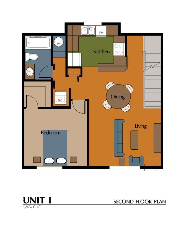 1 Bed, 1 Bath Carriage House (697 sf) Floor Plan 3