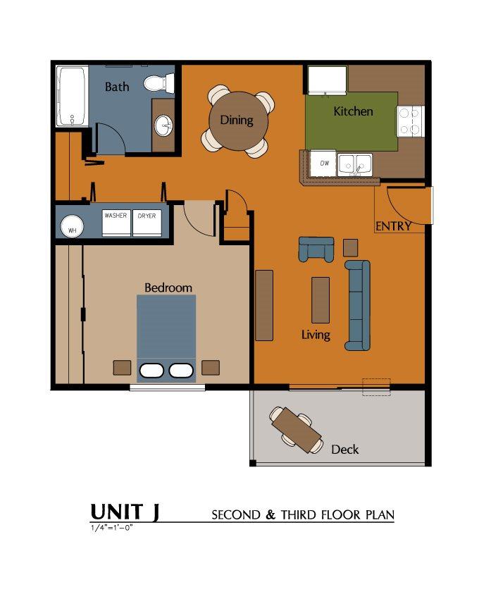 1 Bed, 1 Bath (754 sf) Floor Plan 6