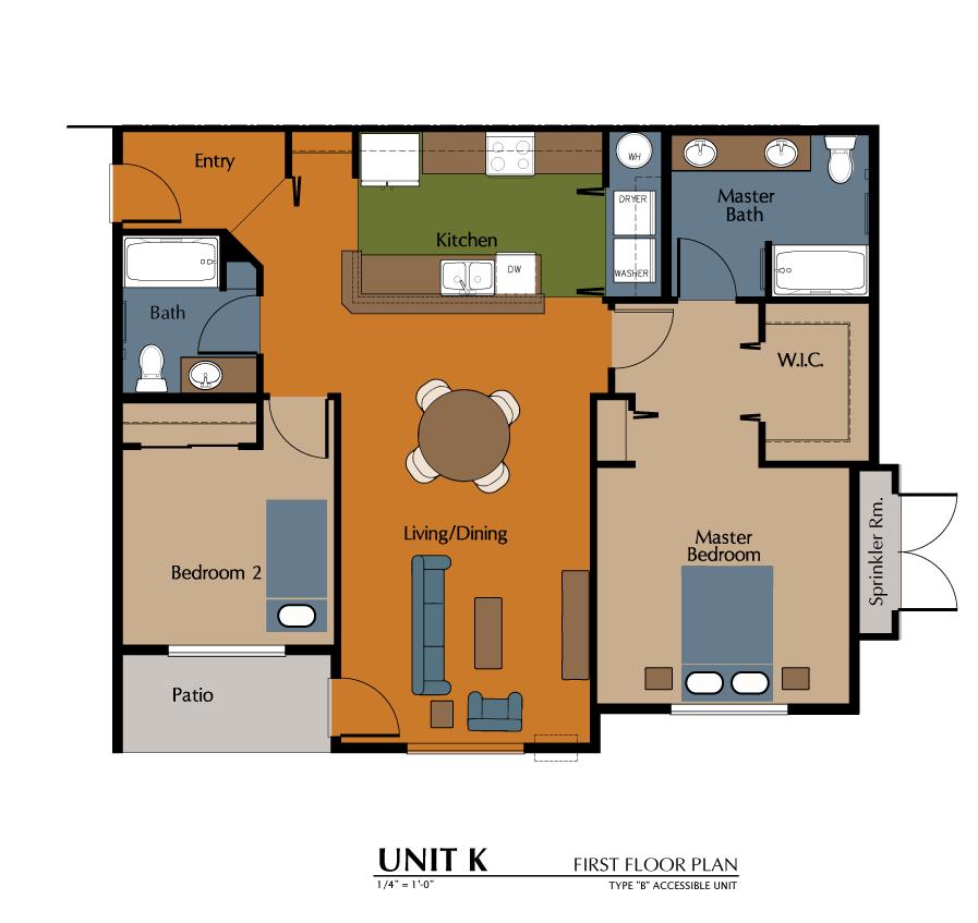 2 Bed, 2 Bath (1105 sf) Floor Plan 11