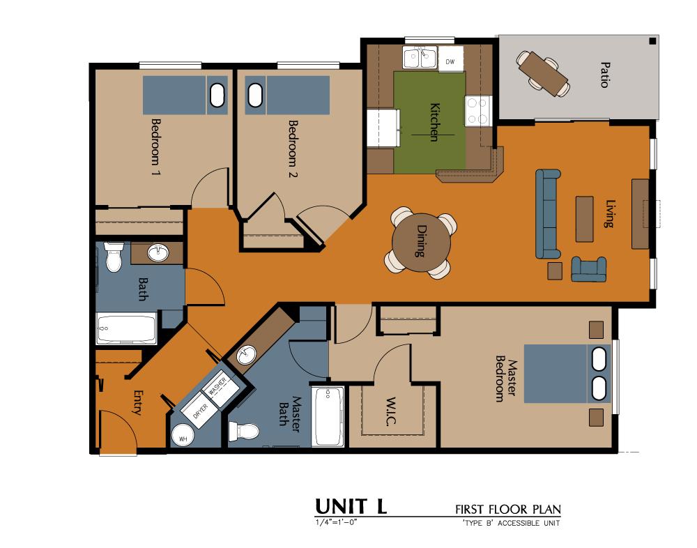 3 Bed, 2 Bath (1228 sf) Floor Plan 14
