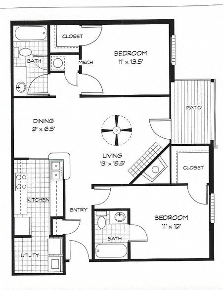 Floor plan at Shillito Park Apartments, Lexington, KY