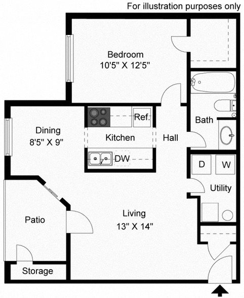 Floor plan at Shillito Park Apartments, Lexington, KY, 40503