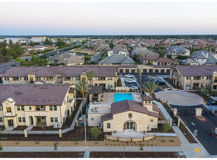 Aerial View With Skyline at Tempranillo Apartment Homes