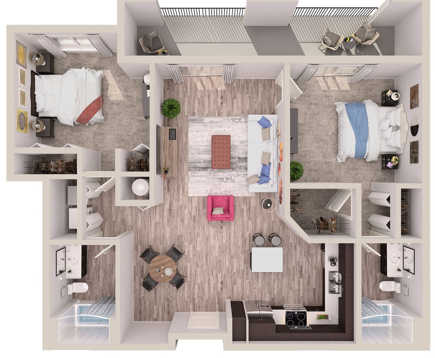 B8 Floor Plan at SofA Downtown Luxury Apartments, Florida, 33483